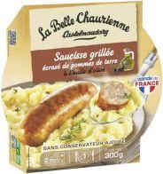 Saucisse de Toulouse, écrasé de pommes de terre, sauce moutarde à l'ancienne