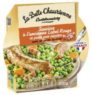 Saucisse à l'ancienne Label Rouge et petits pois carottes avec de petits lardons