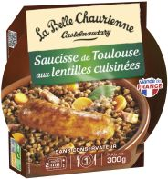 Toulouse sausage with green berry lentils